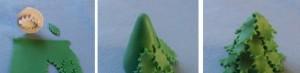 Украшение из мастики для торта - новогодняя елка. Мастер-класс-шаг 2