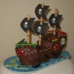Торт из мастики для детей – Пиратский корабль