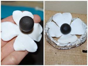 Цветы из мастики. Мастер-класс по изготовлению черно-белых цветов-шаг 4