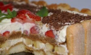 Клубнично-банановый торт Тирамису быстрого приготовления
