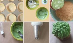 Как украсить пирожные или капкейки. Сделайте с кремом или из мастики симпатичные кактусы!-шаг 4