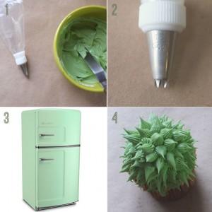 Как украсить пирожные или капкейки. Сделайте с кремом или из мастики симпатичные кактусы!-шаг 6