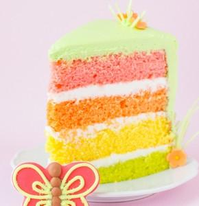 Торт Радуга с бабочками из мастики – оригинальное оформление торта-шаг 1