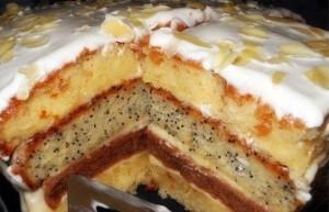 Сметанный торт с маком, арахисом, кокосовой стружкой Королева