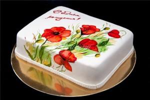 Как сделать роспись на торте. Видео-шаг 2