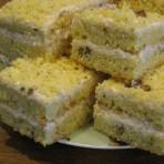 Бисквитный торт на сгущенном молоке с творожным кремом