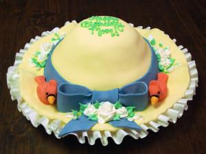 Первый вариант Раскатываем белую мастику. Покрываем торт, одновременно оставляя широкие края из мастики. Обрезаем ровно, чтобы вышли аккуратные поля шляпы. Из мастики розового цвета изготавливаем ленточку. Затем разноцветные фиалки. Украшаем деталями торт.  Второй вариант Торт покрываем мастикой светло-коричневого цвета точно так же, как и в первом варианте. Делаем большой бант, прикрепляем к торту. Украшаем в завершение съедобными бусинками.  Третий вариант Покрываем белой мастикой, но поля оформляем «волнами». Украшаем коричневым бантом и хризантемой нежного оттенка.  Четвертый вариант Здесь понадобится желтая мастика для покрытия. Бант изготовлен из синей мастики. «Шляпа» украшена маленькими розочками и птичками.  Каждый вариант такого оригинального торта из мастики заслуживает внимания! Можно также украшать «Шляпу» по своему вкусу.-шаг 4