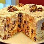 Простой торт Трухлявый пень с орехами и сухофруктами
