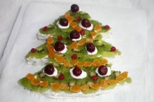 Новогодний торт Елочка с фруктами