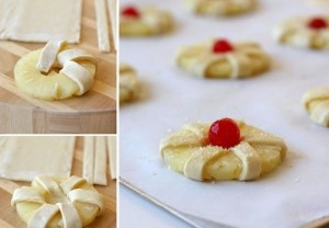 Пирожное с ананасами Цветок-шаг 1