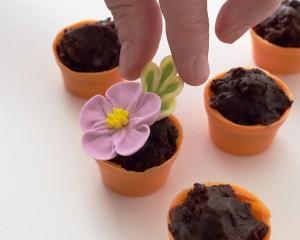 Пирожные Горшочки с цветами. Как украсить пирожные – мастер-класс-шаг 4