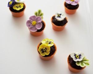 Пирожные Горшочки с цветами. Как украсить пирожные – мастер-класс-шаг 5