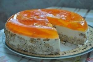 Желатиновый торт с апельсинами и крекерами