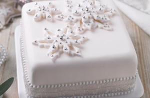 Как украсить новогодний торт мастикой. Видео