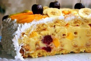 Оригинальный торт с масляным кремом и фруктами Тропиканка